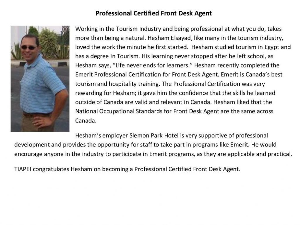 tourism job profile professional certified front desk agent article from tourism industry association of pei human resources website choosetourism ca