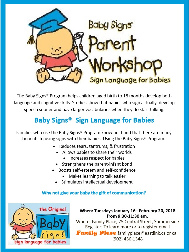 Parents Workshop - Sign Language for Babies @ Family Place | Summerside | Prince Edward Island | Canada