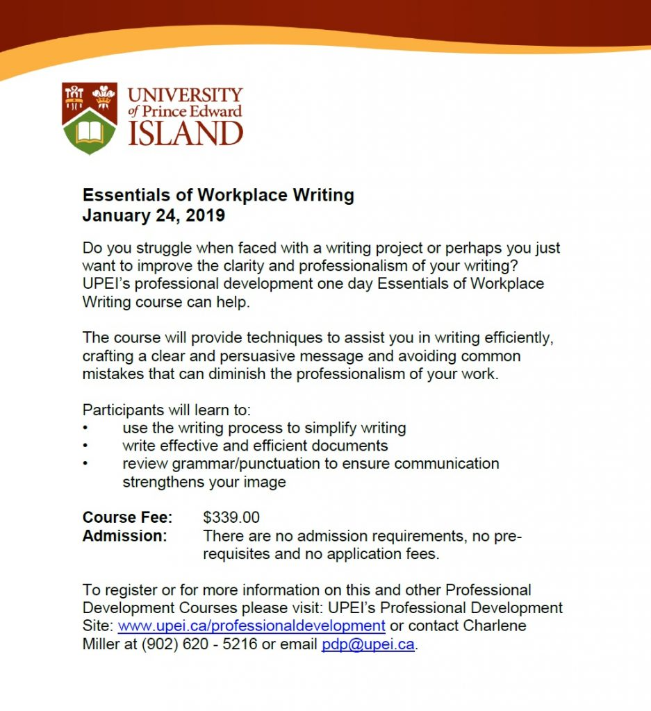 Essentials of Workplace Writing @ UPEI | Charlottetown | Prince Edward Island | Canada