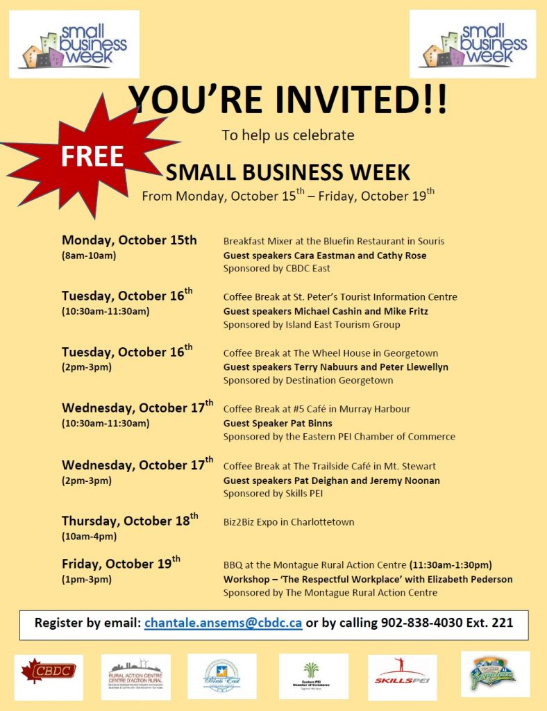 Small Business Week on PEI - Kings County events October 15 to 19 @ various locations across PEI