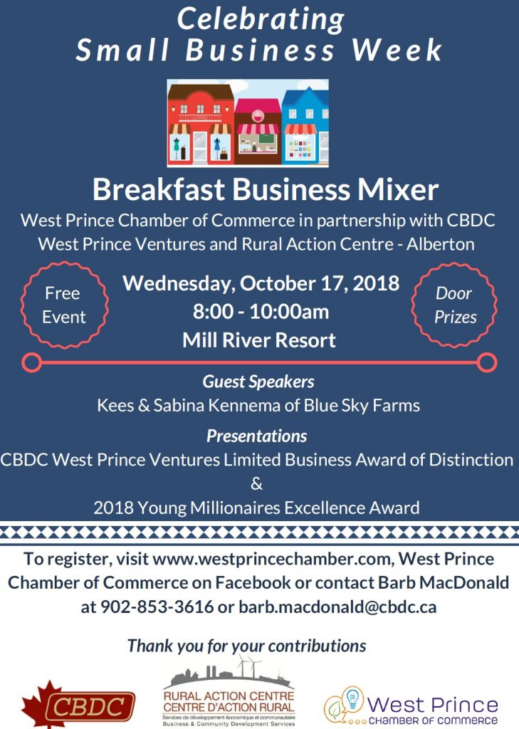 Small Business Week on PEI - West Prince: Breakfast Business Mixer @ Mill River Resort | Bloomfield | Prince Edward Island | Canada