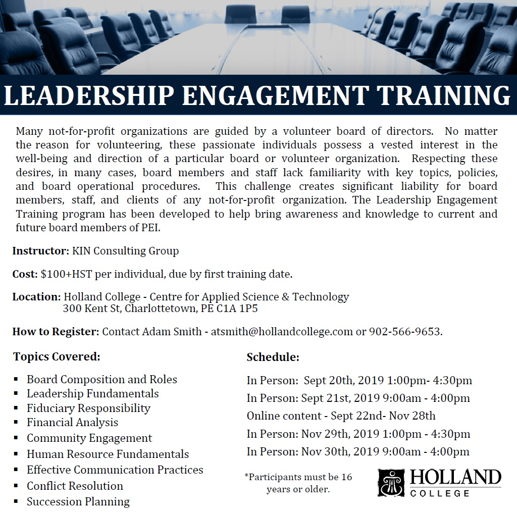 Leadership Engagement Training - Charlottetown @ Holland College Centre for Applied Science & Technology