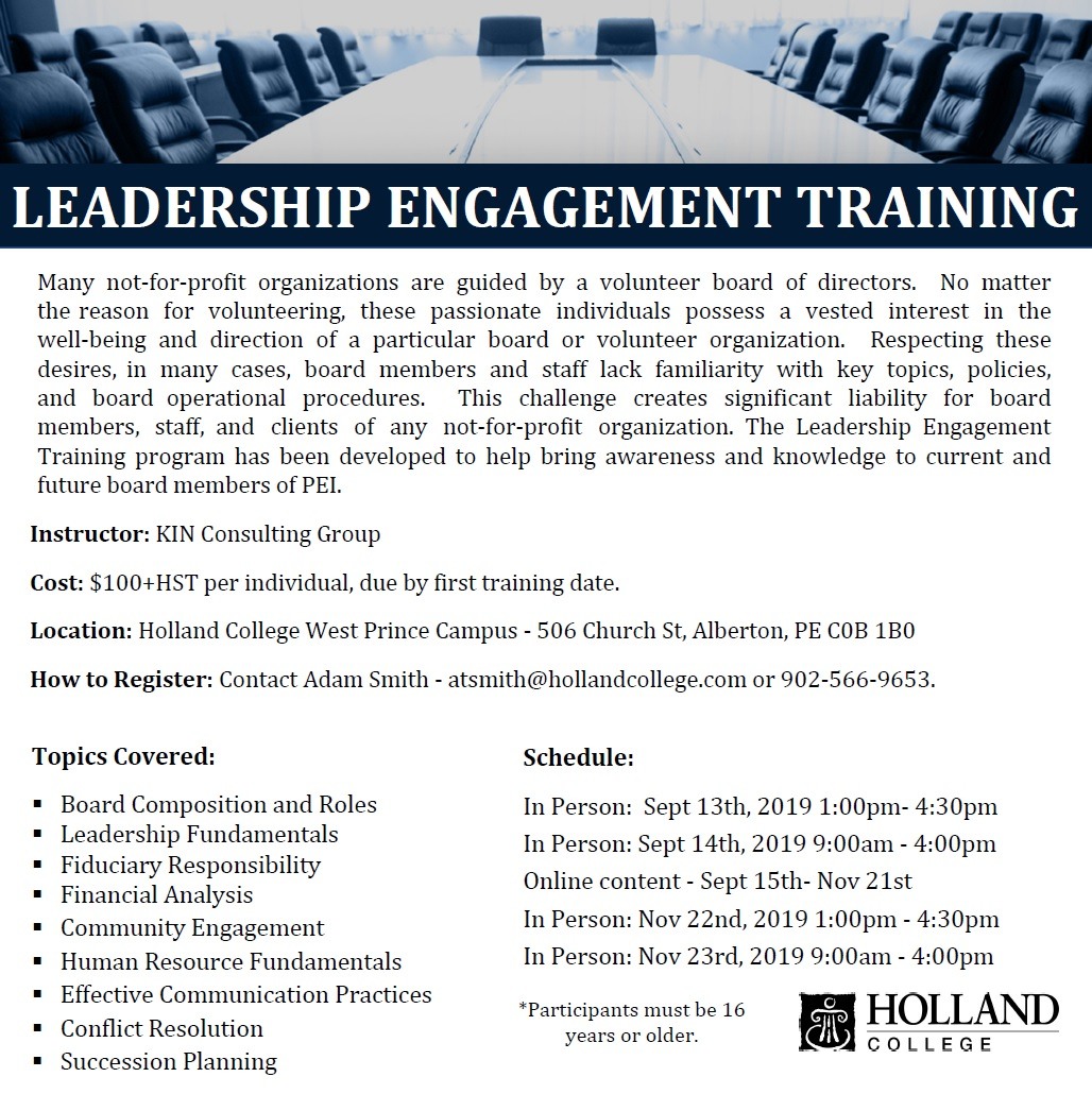 Leadership Engagement Training - Alberton @ Holland College West Prince Campus