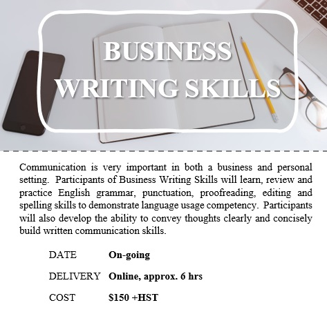 Business Writing Skills - Holland College Customized Training ongoing @ VIRTUAL COURSE