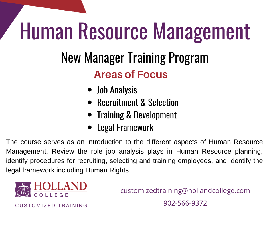 Human Resource Management - New Manager Training - Holland College Customized Training ongoing @ VIRTUAL COURSE